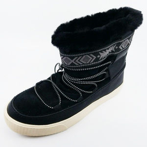 Toms Womens Alpine Boots Black Leather Suede Shoes